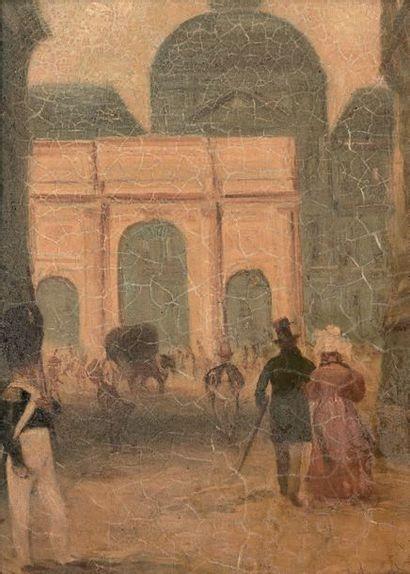 École FRANÇAISE du début du XIXe siècle Promenade aux Tuileries; à l'arrière-plan,...