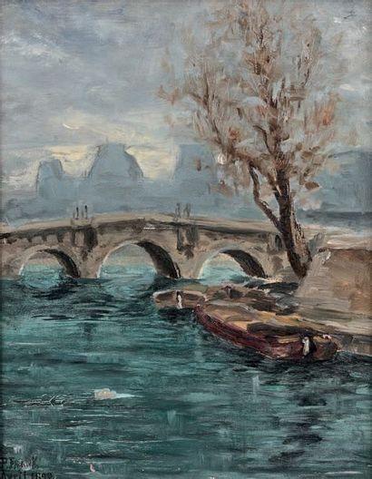P. FRANK, ÉCOLE FRANÇAISE DE LA FIN DU XIXe SIÈCLE Le Pont Neuf, vu du quai des Grands-Augustins,...