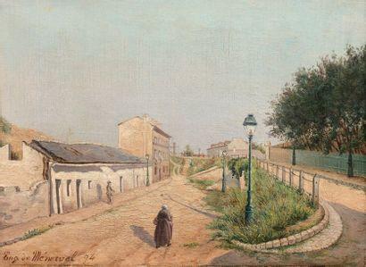 EUGÈNE DE MÉNORVAL (1829-1897) Passants rue du Pot-au-lait, 1894 Huile sur toile,...