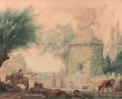 École FRANÇAISE du XVIIIe siècle Jardins imaginaires ornés de monuments de Paris,...