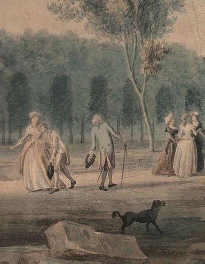 École FRANÇAISE de la fin du XVIIIe siècle Esplanade des Invalides animée autour...