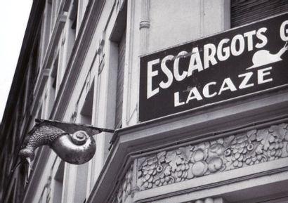 """PAIRE D'ENSEIGNES DU MARCHAND D'ESCARGOTS """" LAZARE SUCCESSEURS """" Fer doré, épousant..."""