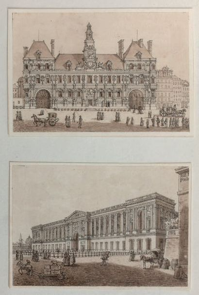 École FRANÇAISE du début du XIXe siècle L'hôtel de ville, la colonnade du Louvre,...