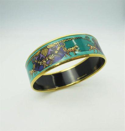 HERMES Paris Bracelet en email à décor polychrome...