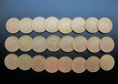 FRANCE. 24 pièces de francs or, Génie. Poids:...