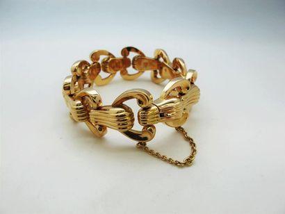 Bracelet en or jaune 18k à maillons souples...