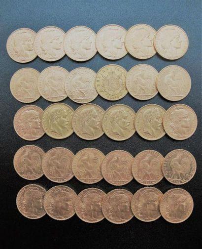 FRANCE. 5 pièces de 20 francs or Napoléon...