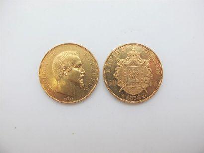 Deux monnaies de 50 francs or, France, de...