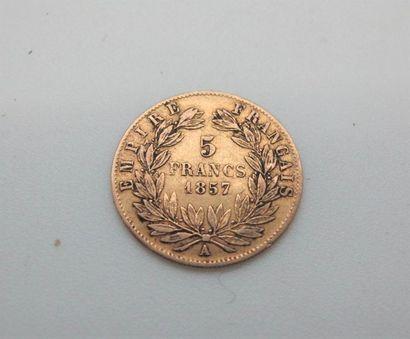 Une pièce de 5 franc or, Napoléon III tête...