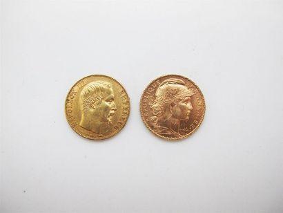 Deux pièces de 20 francs or: au coq 1912,...