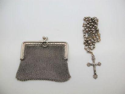 Petit portemonnaie en argent (58 g), chapelet...