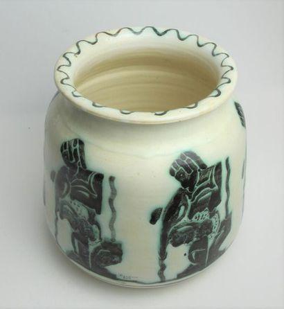 RANDOUR Louis Important vase cylindrique à base profilée et col évasé en céramique...