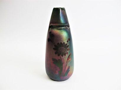 MONTIÈRES Vase ovoïde à col pincé en céramique à décor floral stylisé dans une couverte...