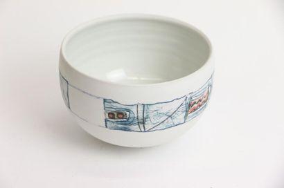 VAN VEEN Heide (née en 1946) Bol en porcelaine...