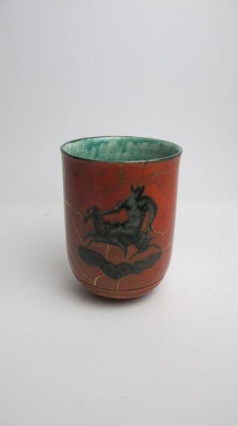 MAYODON Jean (1893-1967) Vase cylindrique sur talon et col évasé en céramique émaillée...