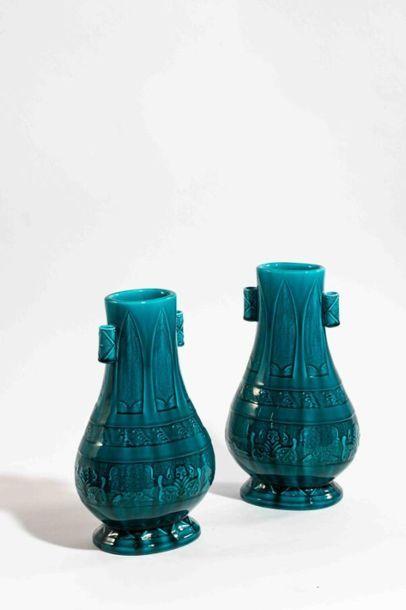 DECK Théodore (1823-1891) Paire de vases...