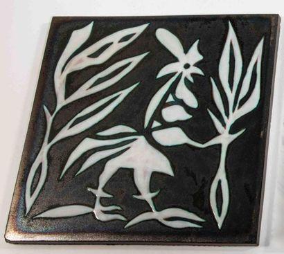 LURÇAT Jean (1892-1966) (d'après) & SANT-VICENS Plaque carrée dans un encadrement...