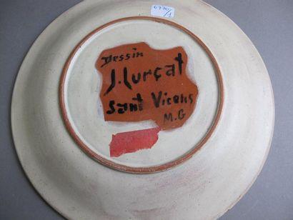 LURCAT Jean (1892-1966) Asssiette en terre cyite à décor émaillé bleu, blanc et...