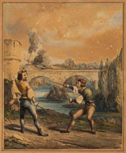 Ecole française XIXème siècle. Deux scènes...