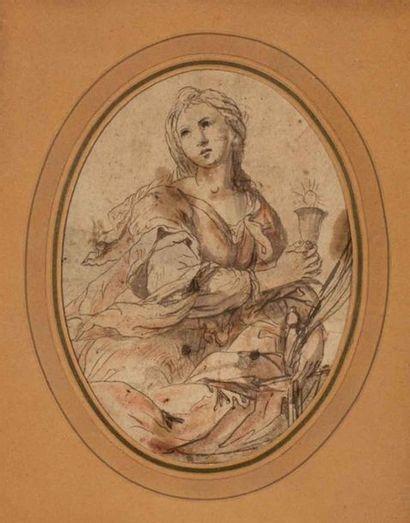 Ecole bolonaise XVIIIème siècle. Ste Barbe...