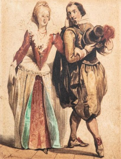 Eugène DEVERIA (1808-1865) Couple en habit...