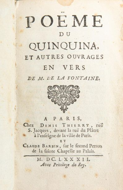 Jean de LA FONTAINE. Poëme du quinquina et...