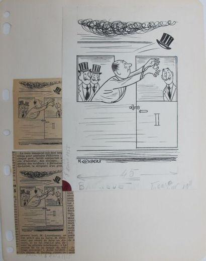 Marcellin COUDERT (1898-1978) Environ 49 dessins de presse originaux à l'encre et...