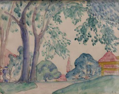 Augustin HANICOTTE (1870-1957) Paysage aux...