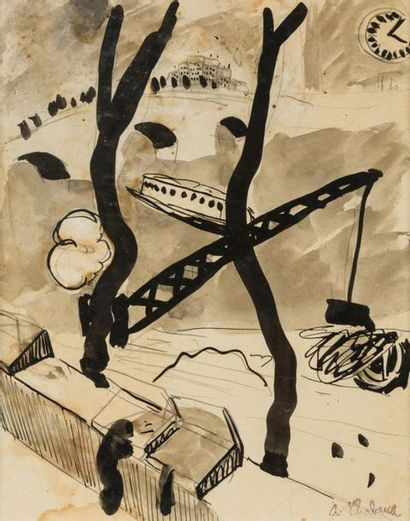 Auguste CHABAUD (1882-1955) Bouquinistes...