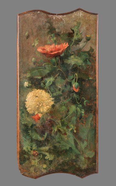 Paul LEMARIEE , né en 1836, Panneaux de fleurs...