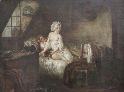 Ecole française du XVIIIème siècle. Le levé....