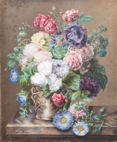 Virginie DURIEU (1820 Nimes) Bouquet de fleurs...
