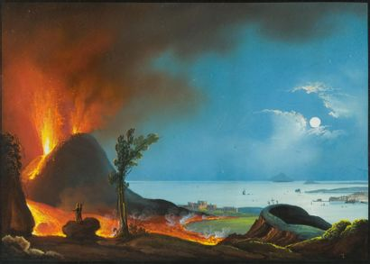 Ecole napolitaine du XIXe siècle Eruption...