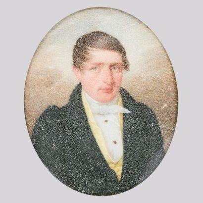 Ecole française vers 1820 Miniature représentant...