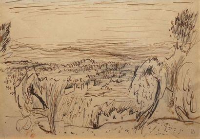 Pierre BONNARD (1867-1947) Paysage animé...