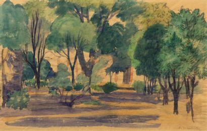 Augustin HANICOTTE (1870-1957) Parc ombragé,...