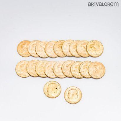 FRANCE. 20 pièces de 20 francs or au coq. Poids: 129,3 g 12% TTC pour les monnaies...