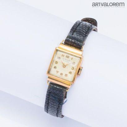 LYLO Montre bracelet, cadran carré en or...