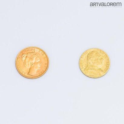 PAYS BAS. 10 florins or, Koningin Wilhelmina, 1898. Poids: 6,7 g FRANCE. 20 francs...