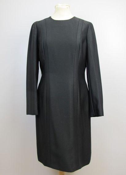 CELINE  Robe noire en laine mélangée, manches...