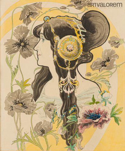 ANONYME vers 1900, ÉCOLE ART NOUVEAU  Femme...
