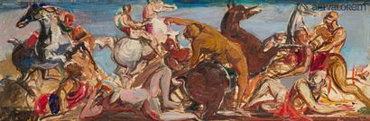 DESPIERRE Jacques (1912-1995)  Scène de bataille...