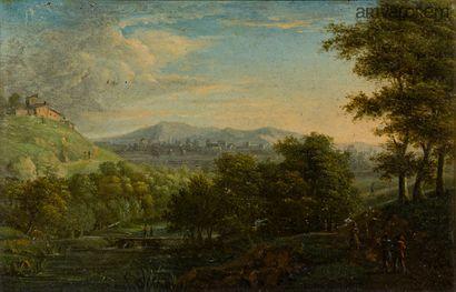 Ecole française vers 1850-1860  Paysage animé...