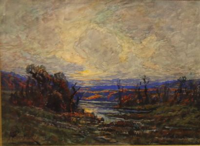 ALBERTIN André Léon (1867-1933)  Coucher...