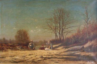 DALLEMAGNE Léon (1837-1907)  Les lavandières...
