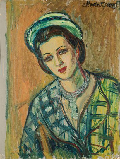 ANAHIT, XXe siècle  Jeune femme au chapeau,...