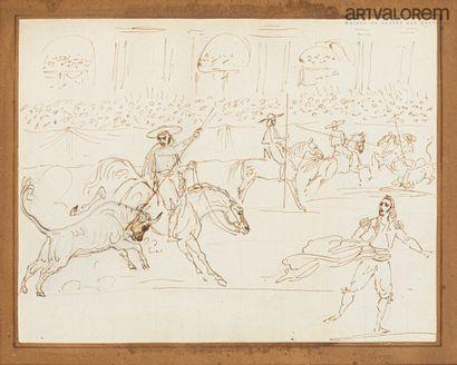 ANONYME XIXème siècle  Scène de corrida,...