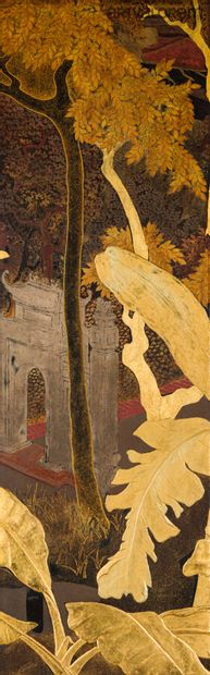 PHAM HAU (Vietnam 1903-1995)  Pagodas in a Tonkin landscape  Six panels of polychrome...