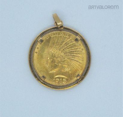 10 dollars or, tête d'indien, 1913 montée...