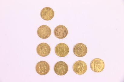 Dix 20 francs or, Napoléon tête nue, tête...